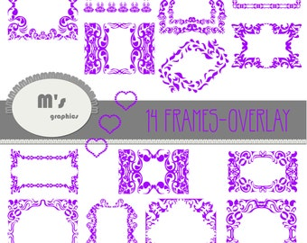 Heart Labels Violet Damask Overlay Frames . Transparent, to use with favourite background. Everyday is Valentine!