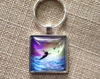Let go and Fly Glass and antique effect silver Keyring