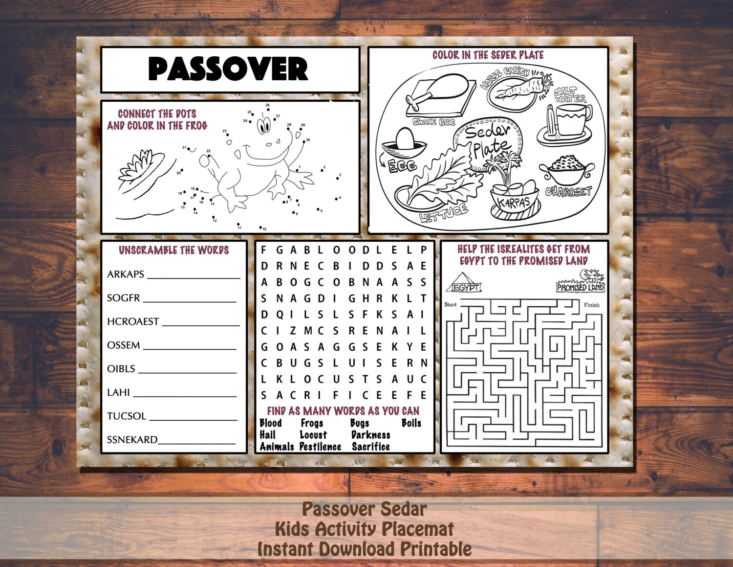 Tactueux image for children's passover haggadah printable