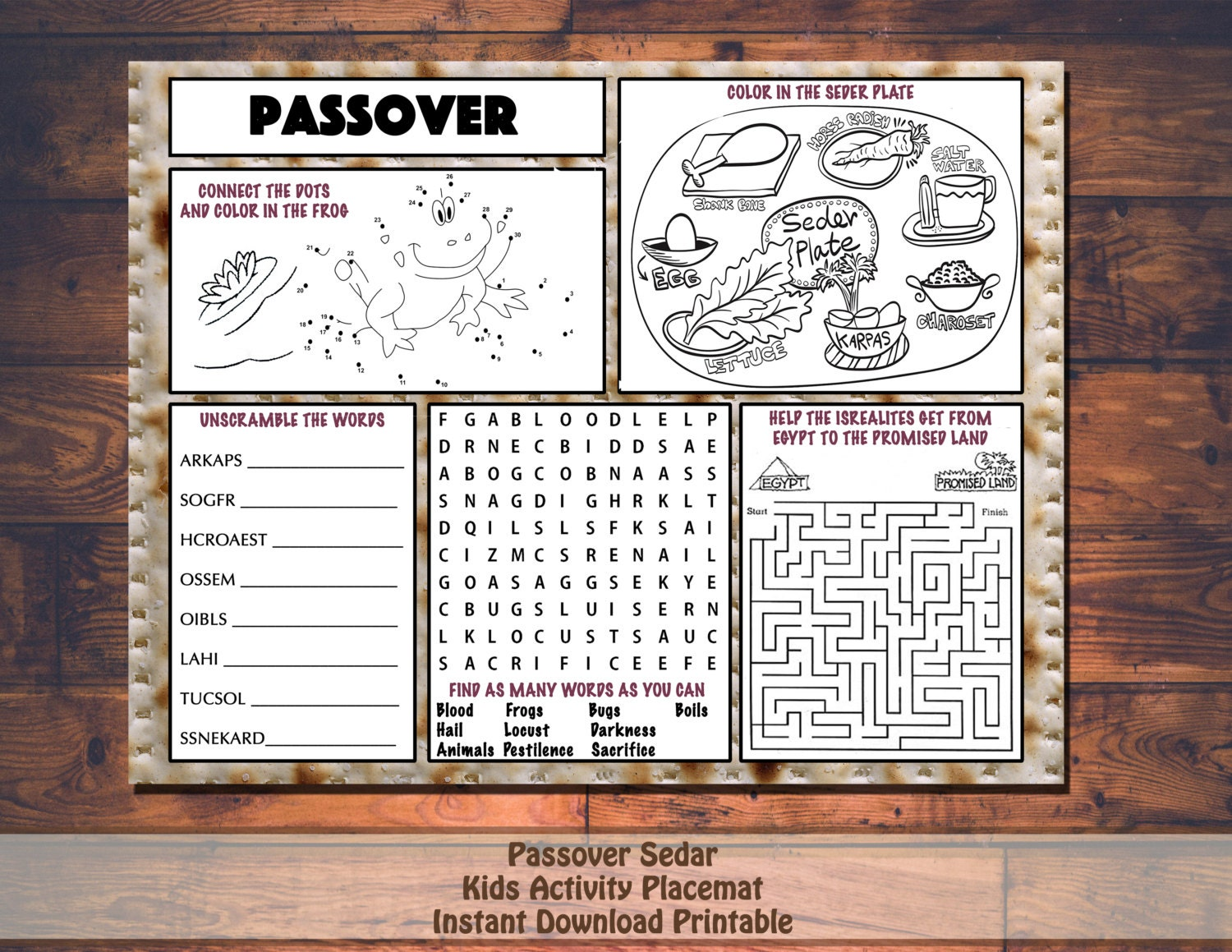 Divine image pertaining to children's passover seder printable