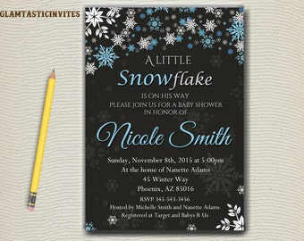Winter Baby Shower Invitation, Winter Invitation, Baby Shower Invite,  Little Snowflake, Winter