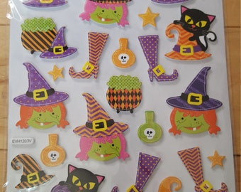 Halloween Glitter Foam Witch Sticker Sheet