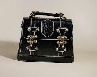 Original Black Leather Caroline Vintage Bag, Handbag, Rare Bag, Box, Shoulderbag
