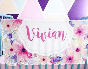 Floral baby blanket - Personalized Baby Blanket - Monogram Baby Blanket - Baby Shower Gift - Custom Blanket - Monogrammed - Name