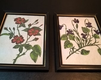 Pair of Vintage Flower Drawings on Felt **FREE SHIPPING**