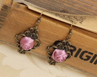 lilac rose earrings