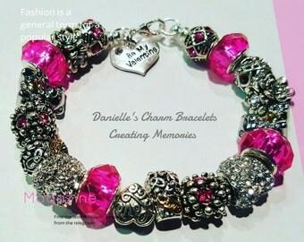 "Pink ""Be My Valentine"" Charm Bracelet"