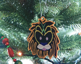 African Ornament, Lion Christmas Ornament, African Christmas Ornament, African Inspired Ornament, African Lion Ornament, FSL Ornament
