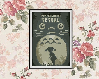 BOGO FREE! My Neighbor Totoro Cross Stitch pattern, Ghibli Cross Stitch Miyazaki pattern Embroidery Needlework PDF Instant Download #015-7