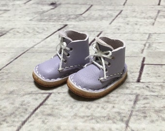 Real leather: miniature short boots [Lavender] (for Blythe)