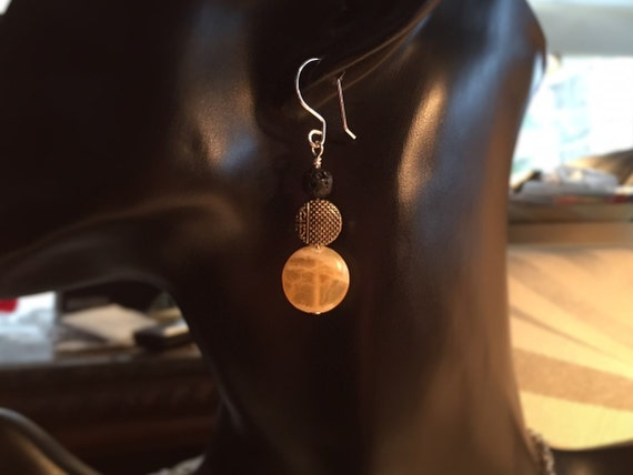 Lava Diffuser Sterling Silver Yellow Jade Gemstone Earrings. Lava Stones for Essential Oils. Genuine Gemstones. Lava Diffuse Earrings