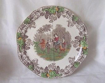 Quartered Sandwich Plate by Spode Byron Series No.2 Brown Multi-Coloured c.1930