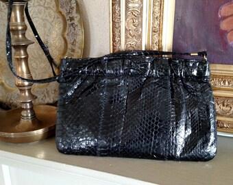 Vintage 1980s Genuine Snake Skin Small Shoulder Bag Purse