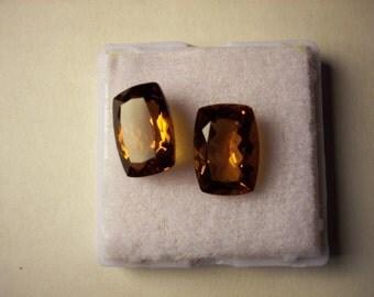 2 Brandy Citrine cushion cut total 11 carats