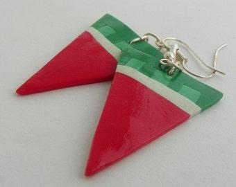 Modern Watermelon Geometric stylized Triangle polymer clay handmade dangle earrings
