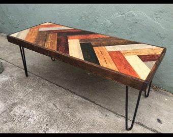 Colorfull chevron coffee table w dark walnut border