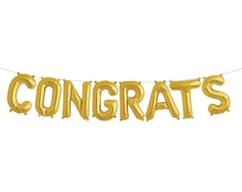 "CONGRATS gold letter balloon kit. 16"". Congratulations balloons. CONGRATS balloon banner. CONGRATULATIONS garland. Engagement party balloons"