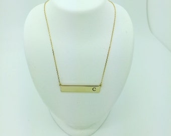 14kt Yellow Gold Modern Bar Pendant Necklace