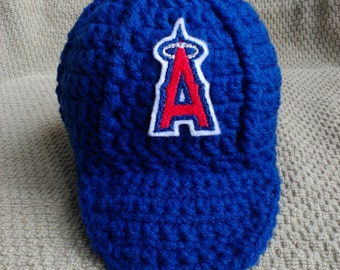 Los Angeles Angels Inspired Crochet Baby Hat Baseball Newsboy Cap Hat with Embroidered Logo- Newborn, 0-3 Months, 3-6 Months, 6-12 Months