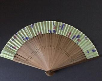 Vintage Hand Fan--Bamboo and Silk Hand Fan--Asian Hand Fan--Small Hand Fan