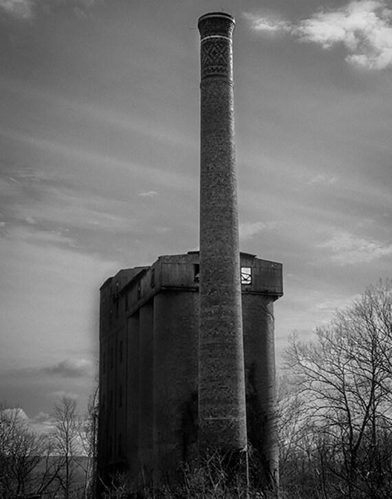 Distillery, Haunting, Smokestack, Wood Print, Abandoned, Urban Exploration, Rust, Industrial, Wall Art, Pittsburgh, Pennsylvania, Whiskey