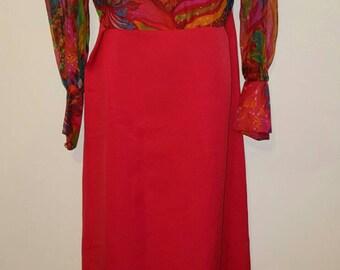 Stunning silk 70s maxi in scarlet with multi coloured chiffon silk bodice