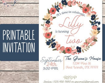 Floral Birthday Invitation - Girl Birthday Invitation - Custom Invitation - Printable Invitation