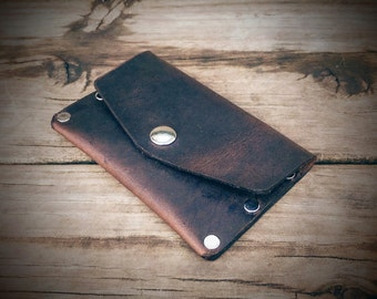 Leather Snap Wallet, Small Wallet, Minimalist Wallet, Slim Wallet, Men's Wallet, Goth Wallet, Biker Wallet, Riveted Wallet (Saddle)