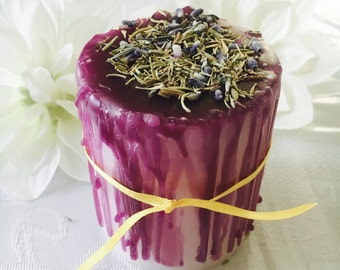 Handmade Pillar Candle, Purple Candle, Wax Dripped Candle, Handmade Spell Candles, Fairy Magick, Ritual Candles, Rosmary, Lavender
