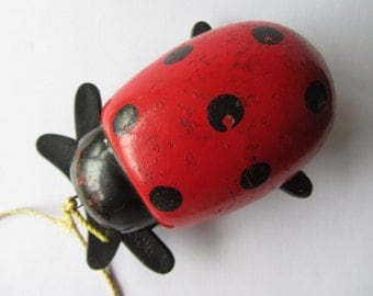 Vintage Brio wooden ladybird, Swedish pull along or push ladybug traditional toy. Red and spotty