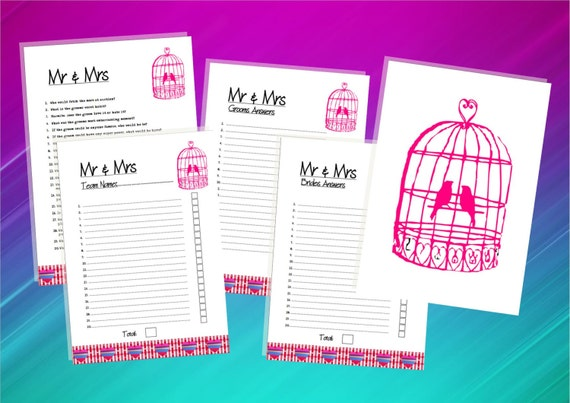 Mr And Mrs Hen Party Questions: INSTANT DOWNLOAD-Hen Night Party Quiz Game-Mr And Mrs