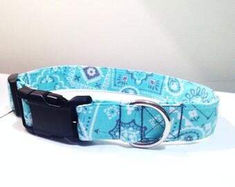 Teal bandana dog collar, Teal dog collar, boy dog collar, girl dog collar, medium dog collar, paisley dog collar,  Teal paisley, preppy