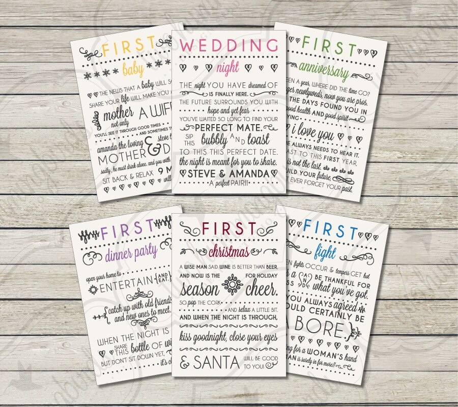 Wedding Milestone Wine Labels A Year Of Firsts Wine: Wedding Milestone Wine Labels Bridal Shower Gift Engagement