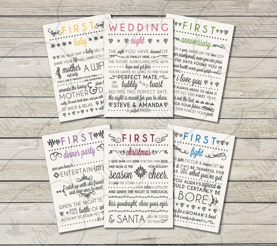Wedding Milestone Wine Labels Unique Wedding Gifts: Wedding Milestone Wine Labels Bridal Shower Gift Engagement