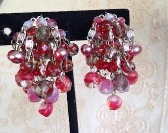Vintage dangle earrings, West German earrings, clip on earrings, 1950s dangle earrings, West German Earrings,  Cluster Earrings, W German