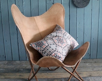 Leather Butterfly hand made chair-(Genuine  leather) -Light brown/ relaxing chair/ leather chair