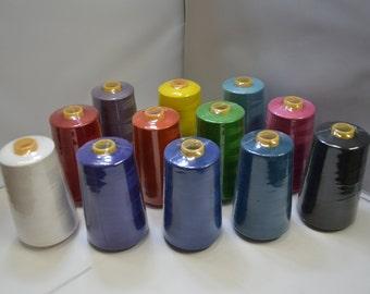 6000 Yds. Serger Sewing Machine Thread 100% Spun Polyester - All Purpose Thread