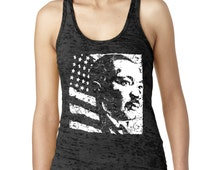 MLK Martin Luther King Day USA American Flag Women's Burnout Tank
