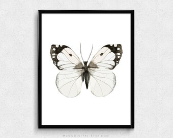 SALE -  Watercolor Black White Butterfly, Nature Insect Poster, Fine Wall Art Poster, Living Room Decor, Dorm, Baby Girl Nursery