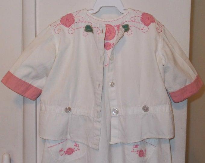 Antique Vintage 30s Baby Infant Handmade Green Pink White Cotton Embroidered Flowers Leaf Playsuit Romper Jacket Set
