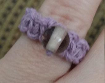 Hemp Ring with wishing bead - purple