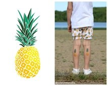 "Set of 3 tatts ""Pineapple fruit"". Juicy summer themed design. Kids temporary tattoos. TT059"