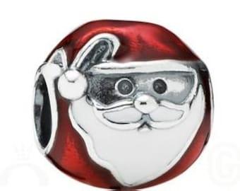 1 Santa Claus St Nick European Bead Christmas Charm Enamel Beads Fits European Style Bracelet -7E