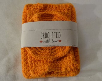 Handmade Crochet Pot Holder Set 3pc Bright Orange Kitchen Accessories, Gift Set