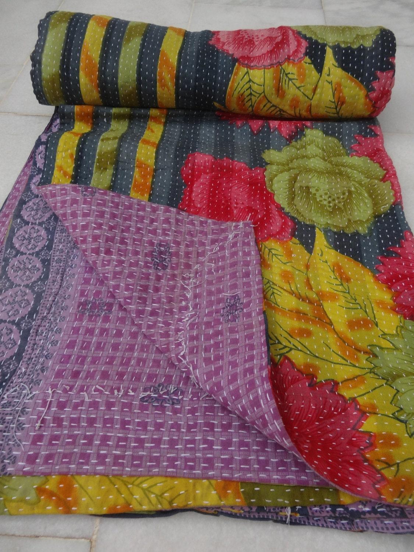 Indian Cotton Kantha Twin Size Quilt Handstitch Blanket Handmade Gudri Bedspread