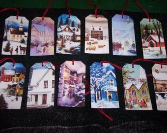 TWELVE Petite Winter Christmas Holiday Countryside Scenes Hang / Gift Tags