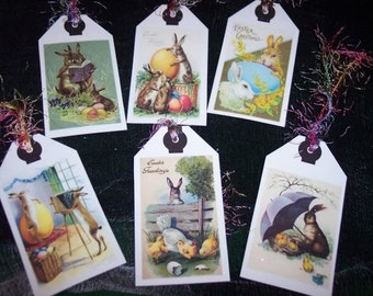 Set of SIX Vintage Easter Hang Tags Spring Holiday Easter Bunny Gift Tags