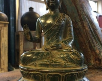 7x4 Inch Bronze Buddha with Green Patina
