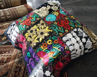 Vintage embroidered patchwork ethnic cotton pillow cover from India