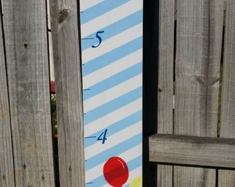 """BLUE STRIPED w/BALLOONS Handpainted Wood Growth Chart- Measures up to 6'3"""""""